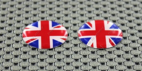 (United Kingdom Union Jack Flag 3d Domed Circle Round Decal Sticker Mini Pair)
