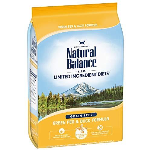 Natural Balance L.I.D. Limited Ingredient Diets Dry Cat Food, Grain Free, Green Pea & Duck Formula, 2-Pound (L/d Diet)