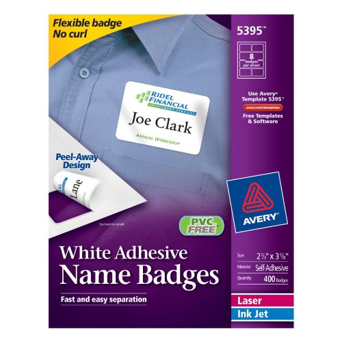 "Avery Adhesive Name Badges, 2.33 x 3.38"", White, Box of 400"