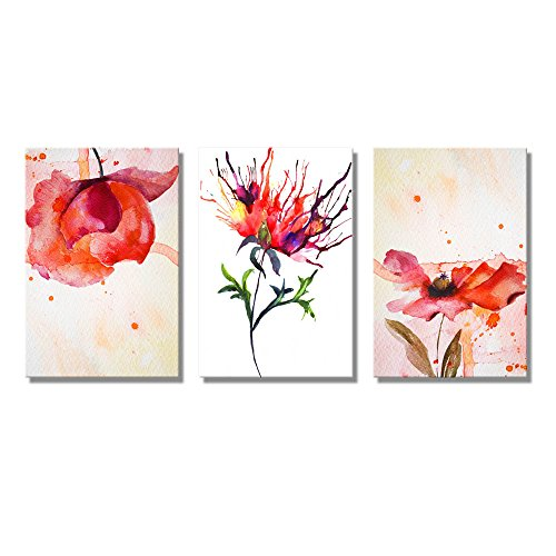 Set of 3 Peony in Red WaterColor King of Flowers Home Deoration Wall Decor ing ped x 3 panels