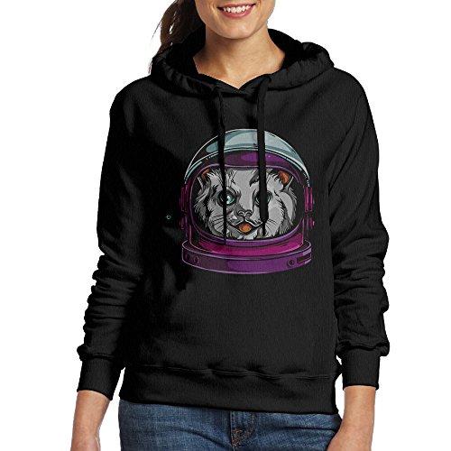 FUOCGH Women's Pullover Space Astronaut Cat Hoodie Sweatshirts Black XL