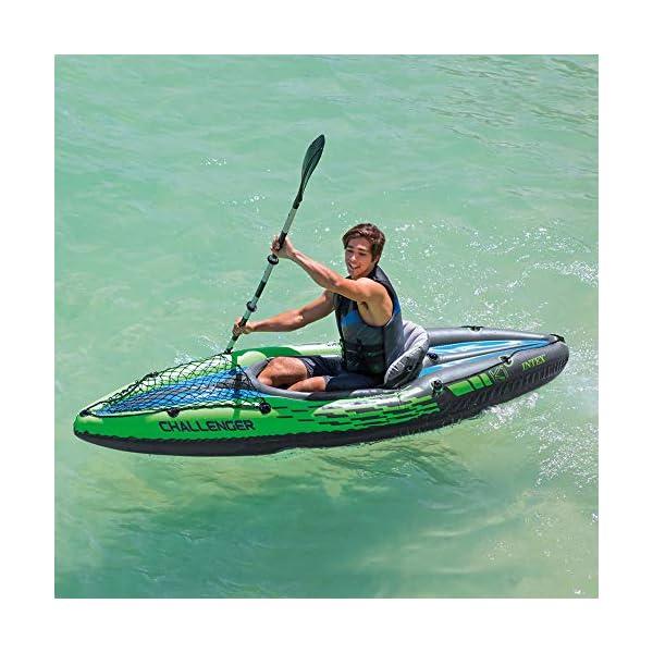51qlHUjZ69L Intex Schlauchboot Aufblasbares Kajak Boot Challenger K1 Phthalates Free Inkl. 84 Paddel und Luftpumpe, 274 X 76 X 33 cm…