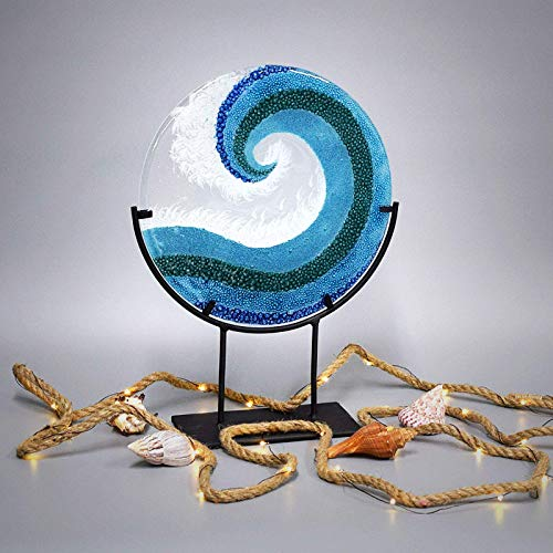 (Glass Art Crashing Ocean Wave Panel with Stand 14 3/4 Inches Tall)