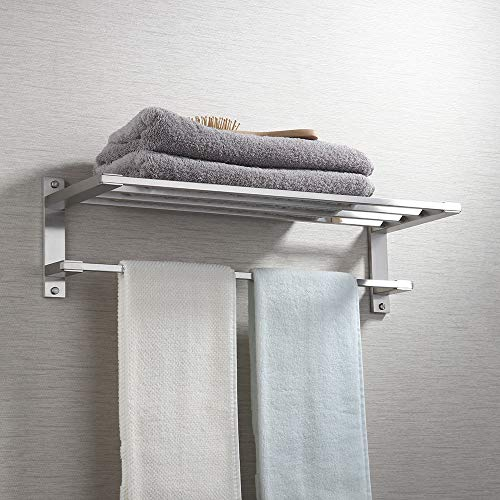 "KES SUS304 Stainless Steel 22"" Hotel Towel Rack Bathroom Shelf Shower Towel Bar Rust Proof Wall Mount Contemporary Style Space Saving for Multi Hand Towels Brushed Finish, A2410-2"