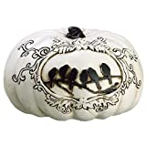 4''Hx6.5''W Artificial Crow Pumpkin -White/Black (pack of 4)