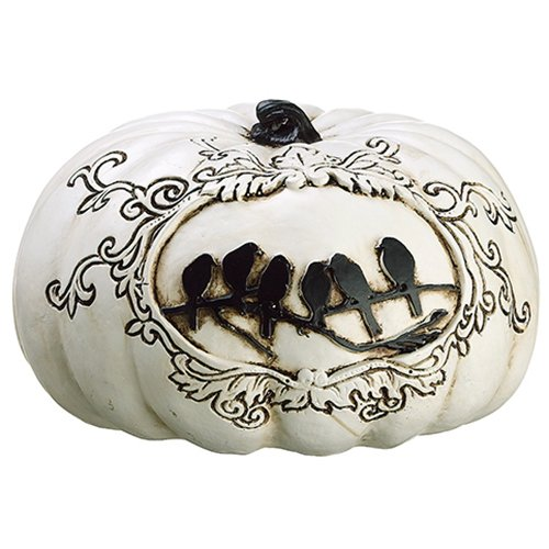 4''Hx6.5''W Artificial Crow Pumpkin -White/Black (pack of 4) by SilksAreForever