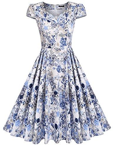 ACEVOG Women's Fashion Petite Wear to Work Evening Elegant Dresses (Sky Blue Azure M)