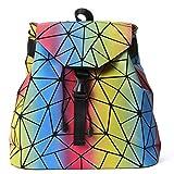 HotOne Luminous Shard Lattice geometric purse Women Shoulder Bag PU Leather Handbag (Rainbow)