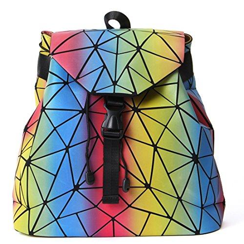 HotOne Luminous Shard Lattice geometric purse Women Shoulder Bag PU Leather Handbag (Rainbow) by HotOne