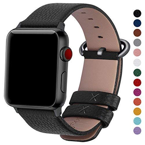 (Fullmosa Compatible Watch Band 44mm 42mm 40mm 38mm,Genuine Leather Band Compatible Watch Band, 44mm 42mm Black + Gunmetal Buckle )