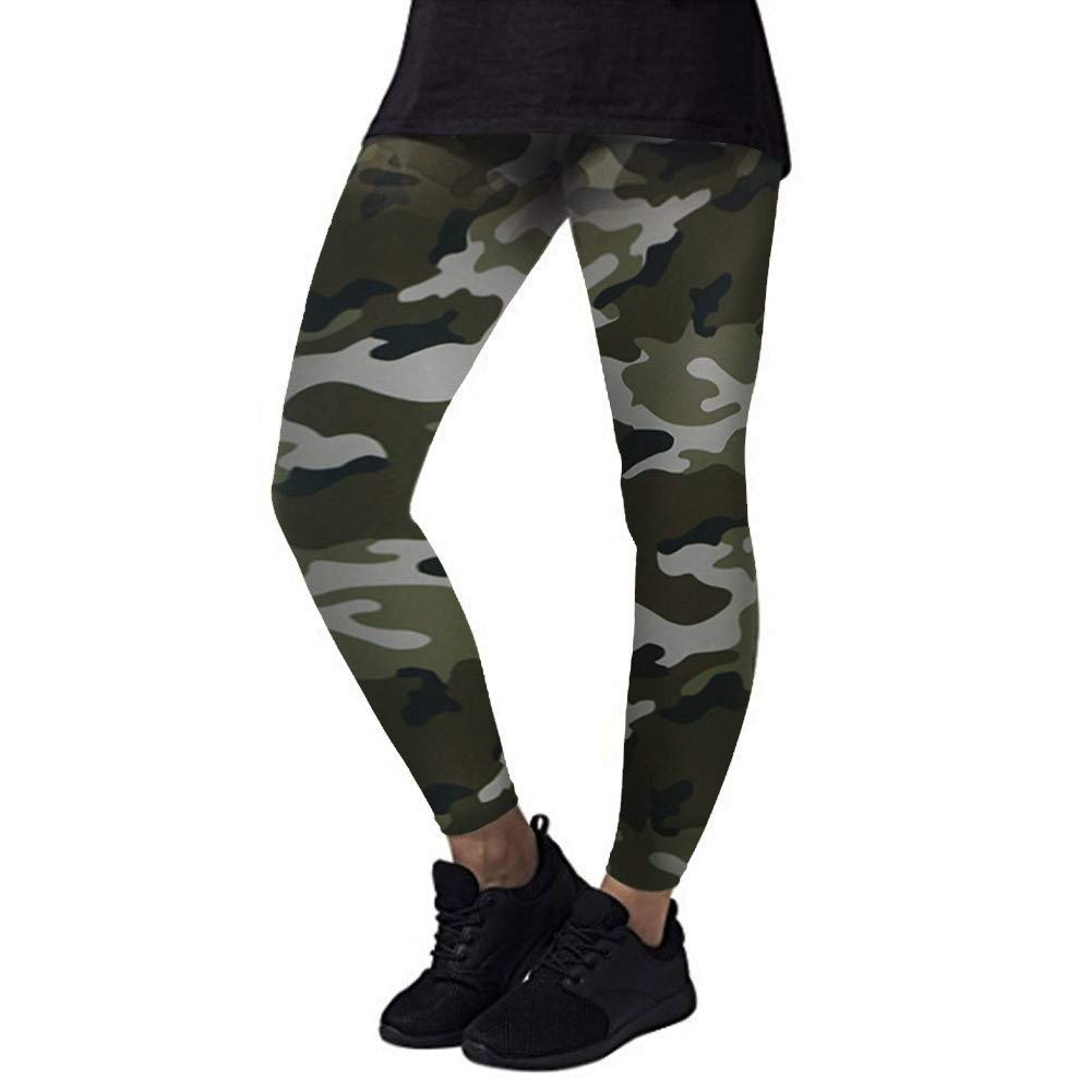 iLUGU Fashion Women Yoga Workout Gym Leggings Sports Pants Fitness Trouser Athletic Work Out Swim Yoga Green
