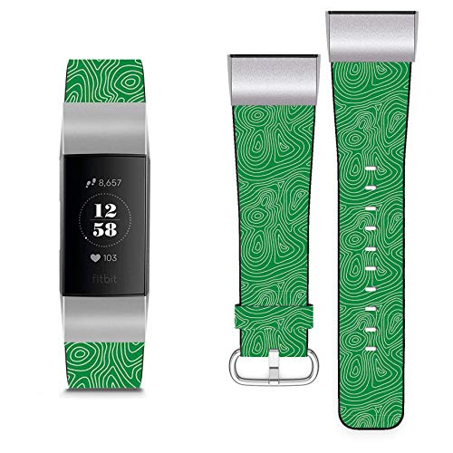 Compatible with Fitbit Charge 3 // Leather Replacement Bracelet Strap Wristband + Adapters // 1950S Style Retro Chevron Love