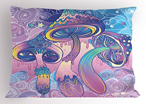 (Lunarable Mushroom Pillow Sham, Trippy Drawing Hippie Design Sixties Visionary Psychedelic Shamanic, Decorative Standard Queen Size Printed Pillowcase, 30 X 20 Inches, Aqua Light Pink Purple)