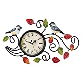 Collections Etc Two Chickadees Wall Clock with Leaves Metal Art