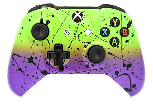 Modded Hand Airbrushed Xbox One Custom Controller - Compatible with Xbox One - for Shooting Games (Green & Purple) (Xbox Modded Controller Purple)
