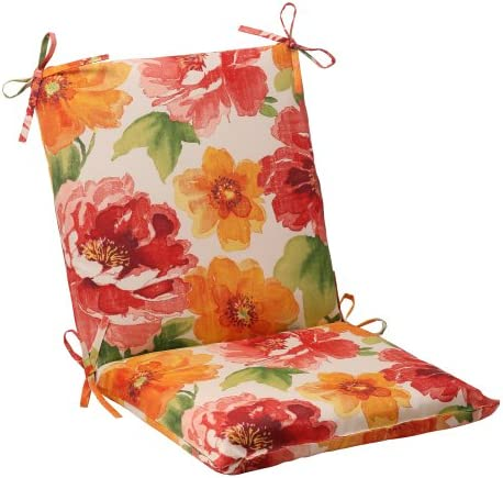 Pillow Perfect Outdoor Indoor Muree Primrose Square Corner Chair Cushion, 36.5 x 18 , Orange