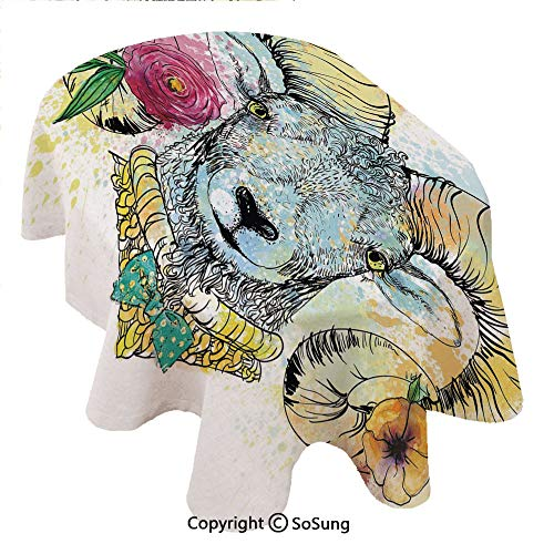 Quirky Decor Oval Polyester Tablecloth,Ram Head with Horns and Blossoming Spring Flowers Bow Tie Dapper Fashion Art Decorative,Dining Room Kitchen Oval Table Cover, 60 x 102 inches,Multicolor