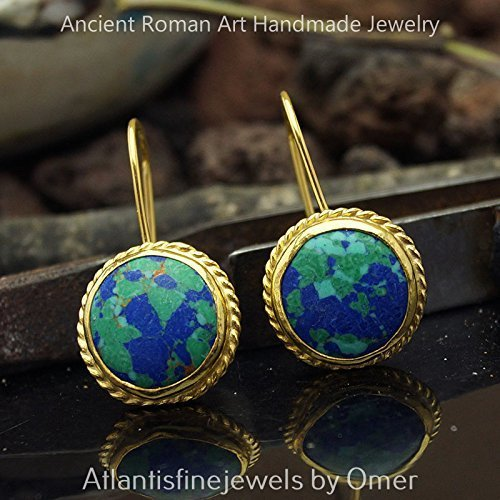 (UNIQUE TURQUOISE EARRINGS HANDMADE STERLING SILVER 24K GOLD VERMEIL TURKISH FINE JEWELRY)