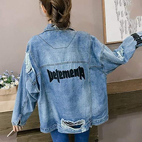 Strappato Autunno Anteriori Jeans Breasted Donna Elegante Giubbino Giacche Casual Cappotto Giaccone Blau Baggy Fashion Alta Tasche Qualità Di Bavero Moda Ragazza Single Manica Lunga yWAvq44X