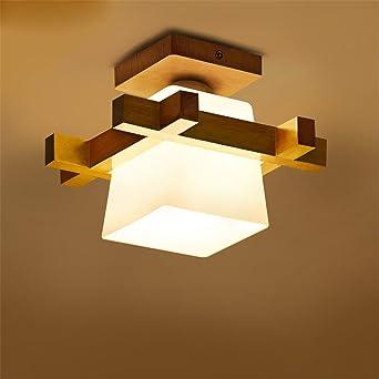 MENGKE E27 Moderne Deckenleuchte Minimalistische Deckenlampen Kreative  Deckenbeleuchtung Einfach Deckenstrahler Holz Glas Lampeschirm Für  Wohnzimmer ...