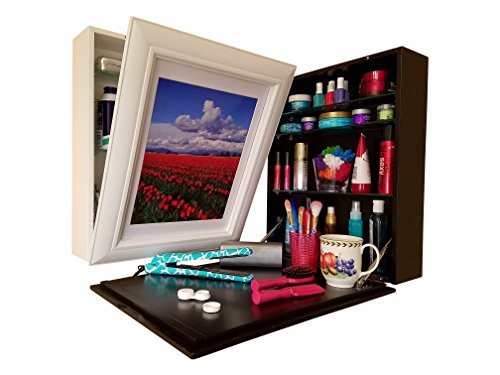 Flip Frame Art to Counter (1) Instant Counter-Top (2) Hidden Storage (3) Easy to Change Art. USES: Cosmetics, Medicine Cabinet, Spices, Office Supplies. Clear Clutter - Space Saver. White (Concealed Medicine Cabinet)