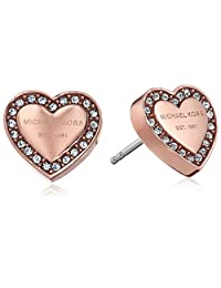 Michael Kors Tone Signature Heart Stud Earrings