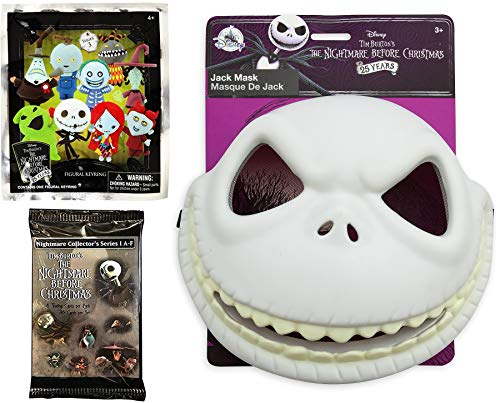 Toy Zero NBC Nightmare Pack Mini Figure Jack Skellington Pumpkin King Mask Playset + Pint Size Mini Keychain Figure Character Blind Bag & Trading Movie Card Scenes Bundle ()