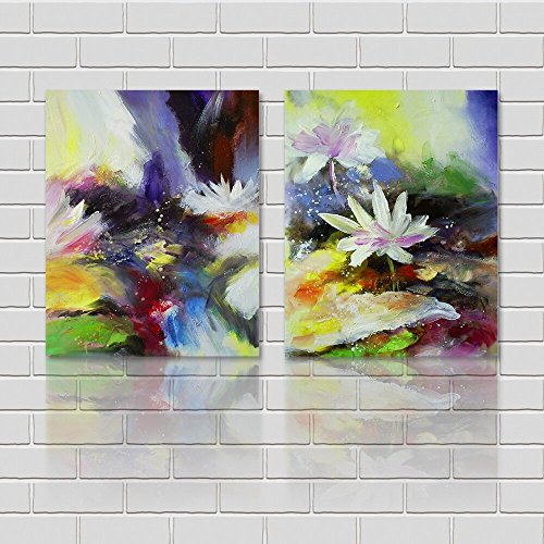 yozhohoo 2 Panels Modern Home Decorations Chinese Painting Shabby Chic Canvas Wall Art Print Lotus - Lotus Flower Art Chinese