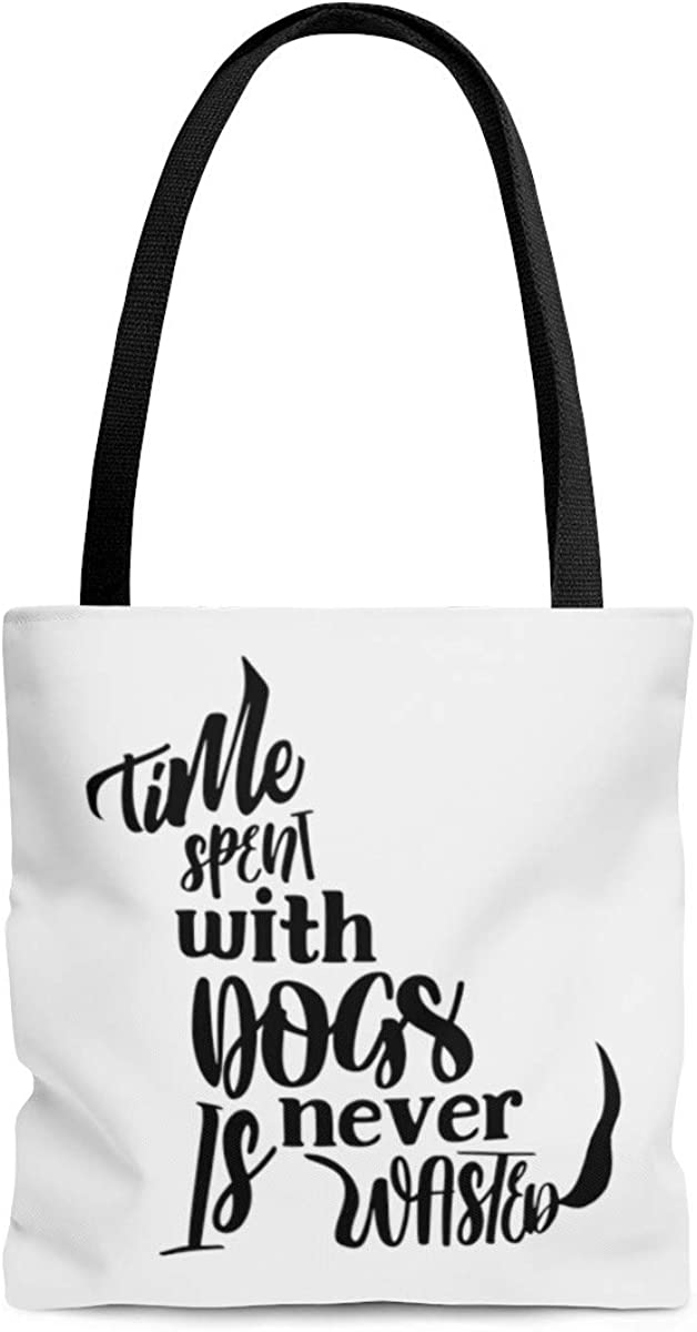 Time Spent with Dogs Is Never Wasted Tote Bag Reuseable Shopping Bag Shoulder Bag