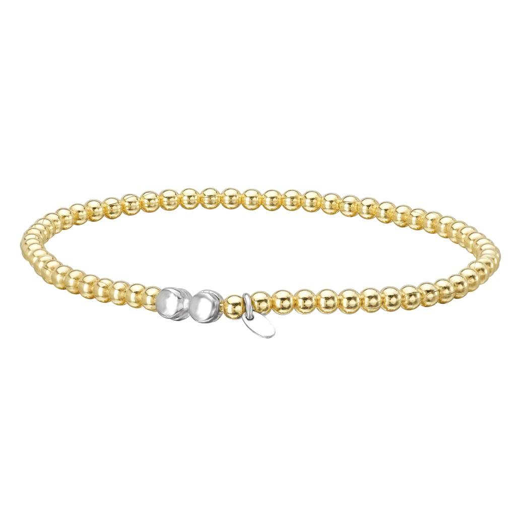 14k Yellow Gold over 925 Silver Beaded Stretch Bangle Bracelet- 6.25+ IN