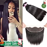 8A Brazilian Straight Hair Lace Frontal Closure with Bundles Straight Virgin Hair with Frontal Straight Hair Bundles with Frontal Closure (18 20 22+16 frontal, Natural Color)