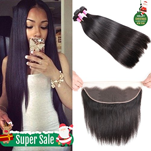 8A Brazilian Straight Hair Lace Frontal Closure with Bundles Straight Virgin Hair with Frontal Straight Hair Bundles with Frontal Closure (18 20 22+16 frontal, Natural Color) by Miss Flower