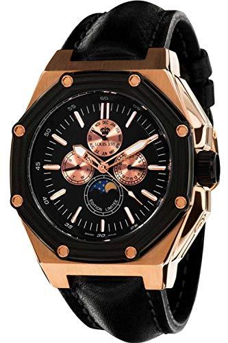 Louis Quartz Watch - Louis XVI Men's-Watch Le Souverain l'or Rose Noir Swiss Made Moonphase Analog Quartz Leather Black 522