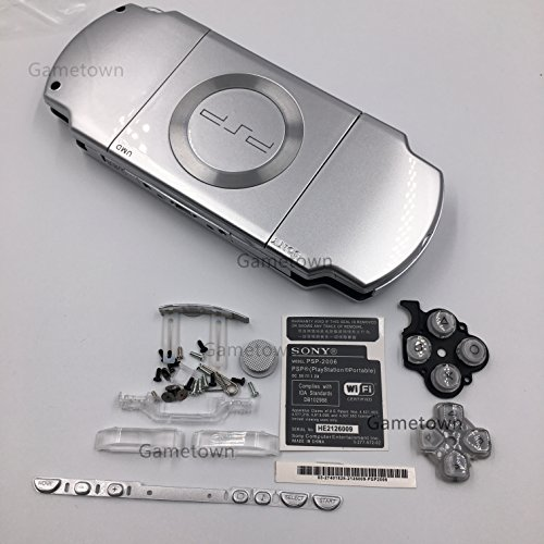 (NEW Replacement Sony PSP 2000 Console Full Housing Shell Cover With Button Set -Silver.)