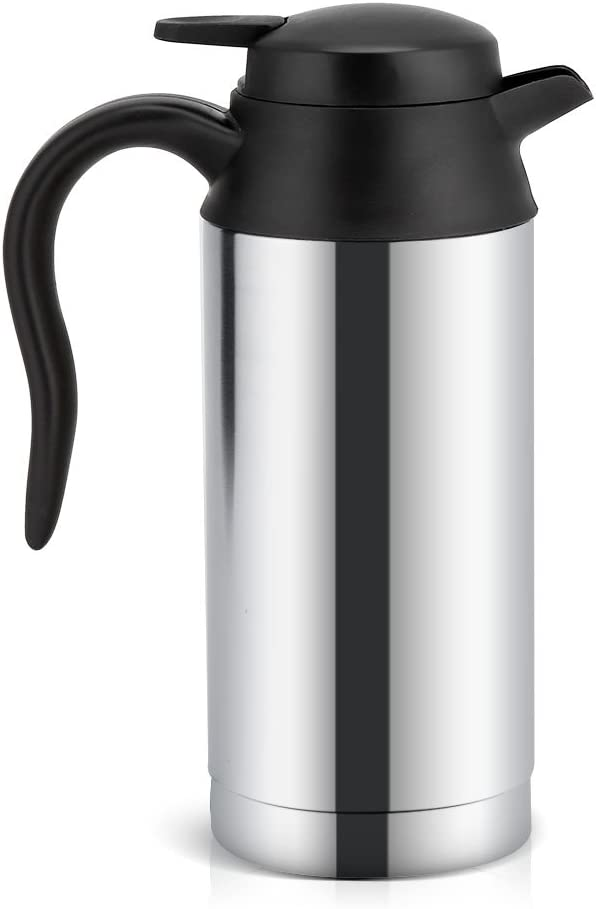 12V 750ml Car Electric Bottle, Portable Car Kettle Stainless Steel Heating Cup with Indicator Light for Travel/Coffee/Tea/Beverage