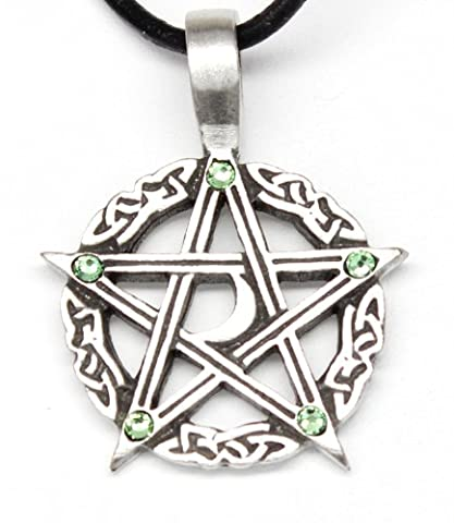 Pewter Pentagram Crescent Moon Pendant on Leather w/5 Swarovski Crystal Light Green August Birthday (Magical Crescent Moon Necklace)