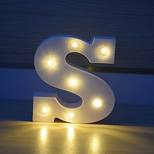 ARTSTORE Decorative DIY LED Letter Lights Sign,Light Up Plastic Alphabet Letter Battery Operated Party Wedding Marquee Décor,Warm white S (Me For Marry Review Christmas)