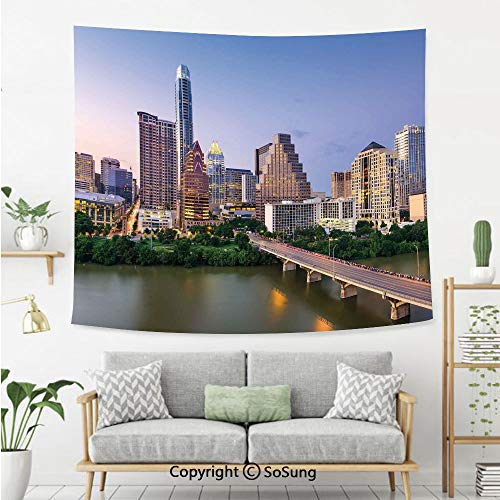 SoSung Modern Wall Tapestry,Austin Texas American City Bridge Over The Lake Skyscrapers USA Downtown Picture,Bedroom Living Room Dorm Wall Hanging,92X70 Inches,Multicolor