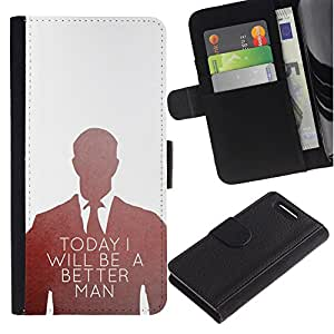 Planetar® Modelo colorido cuero carpeta tirón caso cubierta piel Holster Funda protección Sony Xperia Z3 Compact / Z3 Mini (Not Z3) ( Today Better Man Suit Office Inspiring )