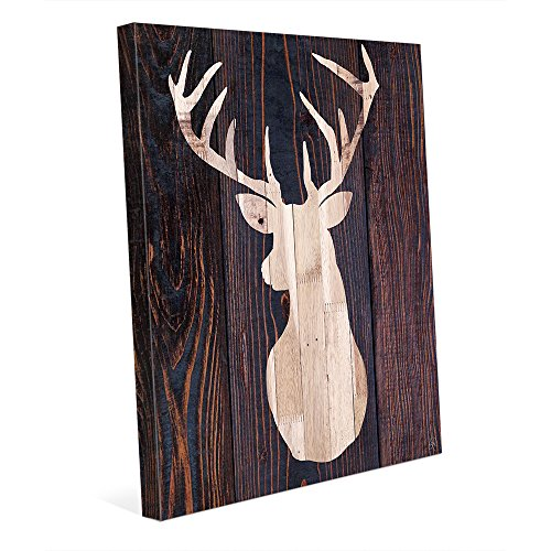 Picture Wall Art Light Wood Reindeer - Buck Deer Silhouette with Antlers in Chestnut Brown Wood Plank-pattern Wall Art Print on Canvas