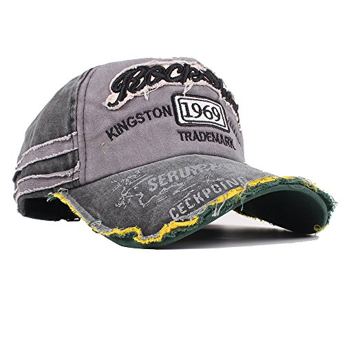 3a4e3a99f1e Vankerful Washed Denim Cotton Distressed Baseball Caps Adjustable Snapback  Embroidered Trucker Hat (BlackGrey)