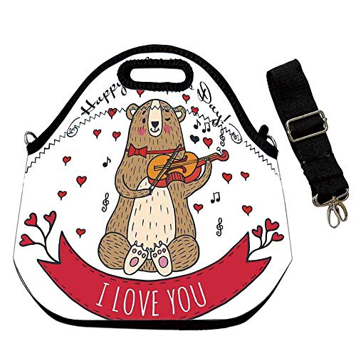 (Valentines Day Custom Neoprene Lunch Bag,Teddy Bear with Violin Made with Love Romantic Music Notes Heart I Love you for Lunch Trip Travel Work,With Shoulder Straps(12.6''L x 6.3''W x 12.6''H))