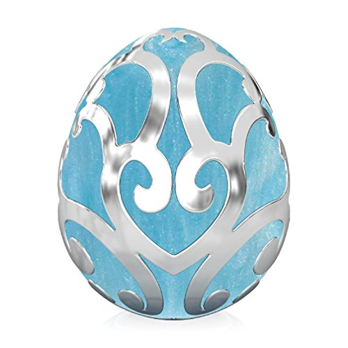 BELLA FASCINI Scroll Easter Egg Bead Charm - Sterling Silver - Fits European Brand Bracelets - Aqua (Life Hands You Lemons Halloween Costume)