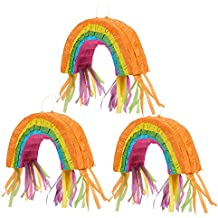Blue Panda 3-Pack Mini Rainbow and Unicorn Birthday Party Theme Pinata - 4 x 7 x 2 Inches