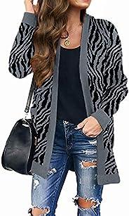 MEROKEETY Women's Open Front Leopard Knit Cardigan Sweaters Pockets Long Sleeve Out