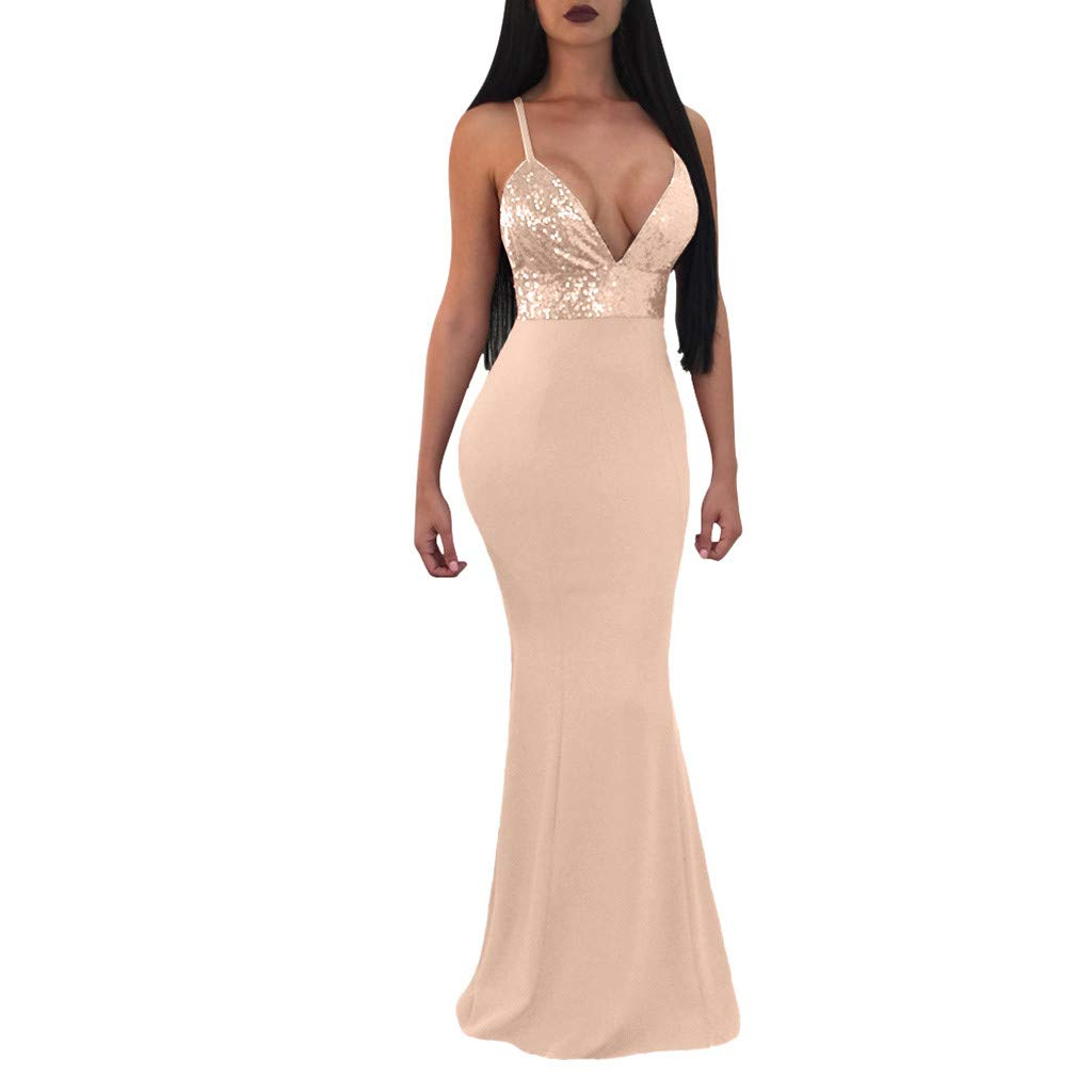Womens Evening Dress Formal Prom Party Ball Gown Sexy V-Neck Sleeveless Backless Sequin Wrap Long Dress Fishtail Skirts (L, Gold)