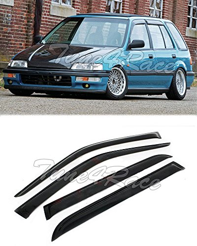 EOS Smoke Tinted JDM Style Side Window Visor Rain Guard - Honda Civic Wagon EF5 88-91 1988 1989 1990 (Honda Civic Wagon Wagon)