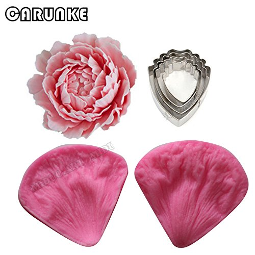 (Peony Fondant Sugarcraft Stainless Steel Cutter Peony Petal Silicone Veiner & Cutter Flower Cutter Cake Decorating Moulds)