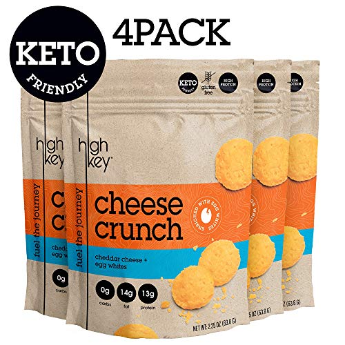 Parmesan Protein Chips - Cheddar & Egg White High Protein Cheese Crisps - Low Carb, Gluten Free Healthy Crunchy Cheese - Savory, Keto & Diet Friendly Baked Cheese with Natural Ingredients, Pack of 4, 2.25oz Bags