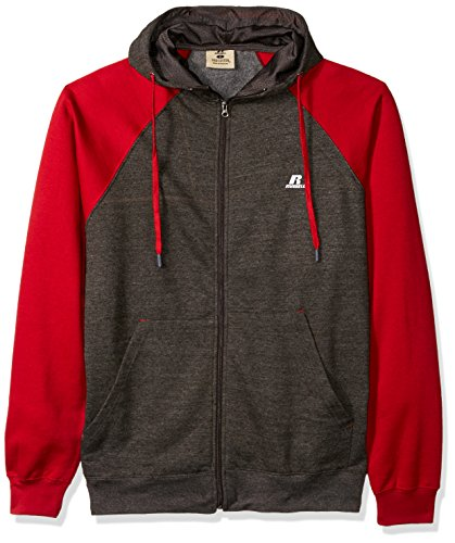 Russell Athletic Men's Big and Tall Full Zip Raglan Hood with Drawstring, Charcoal Heather/Wine, 4XT